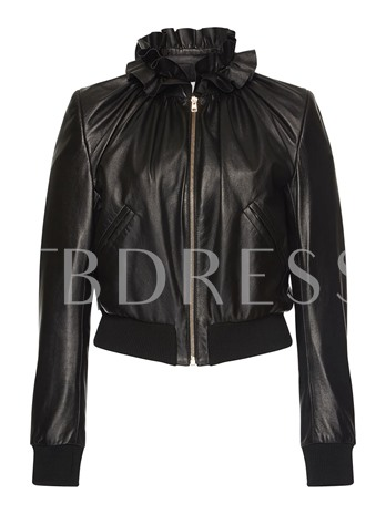 Ruffled Collar Zipper Pocket Women's Jacket