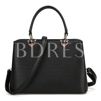 Concise Stripe Solid Color Tote Bag