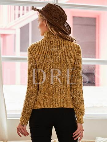 Solid Color Turtleneck Pullover Women's Sweater