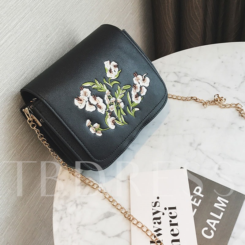 All Match Floral Embroidered Chain Cross Body