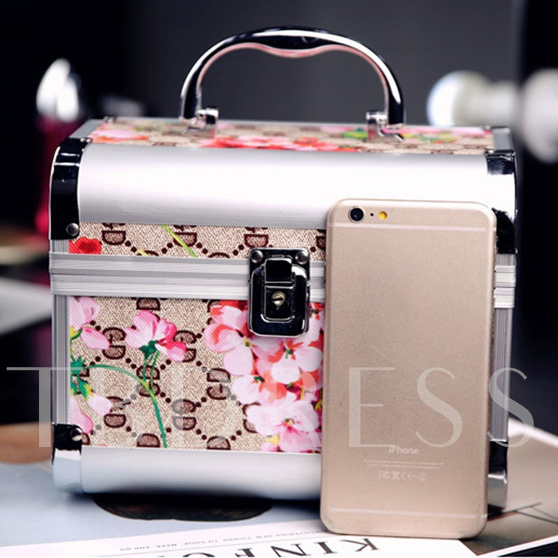 Floral Printing Latch Cosmetic Bag