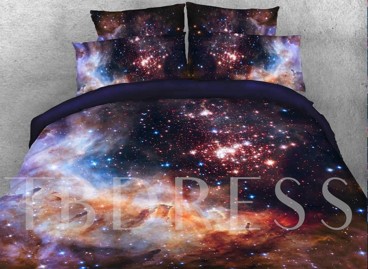 Galaxy and Galactic Nebula Printed Cotton 4-Piece 3D Bedding Sets/Duvet Covers