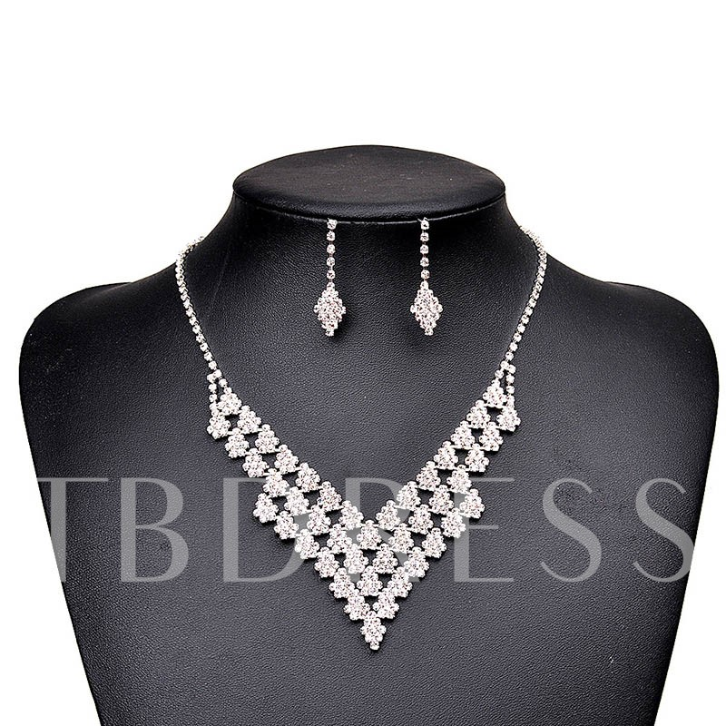 V Type Prong Chain Rhombus Diamante Jewelry Sets