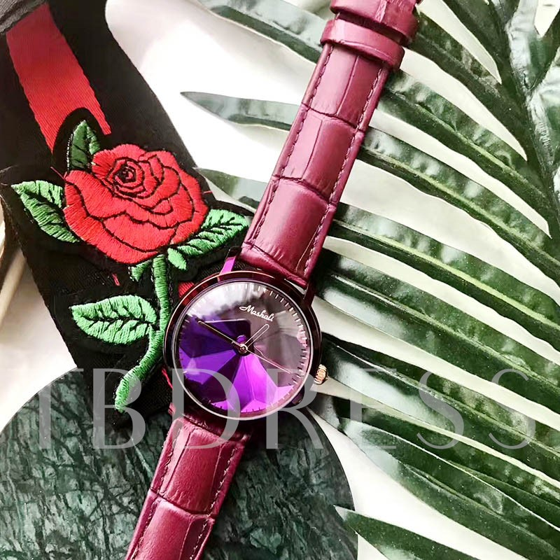 Ultra Violet Diamante Artificial Leather Analogue Display Watches