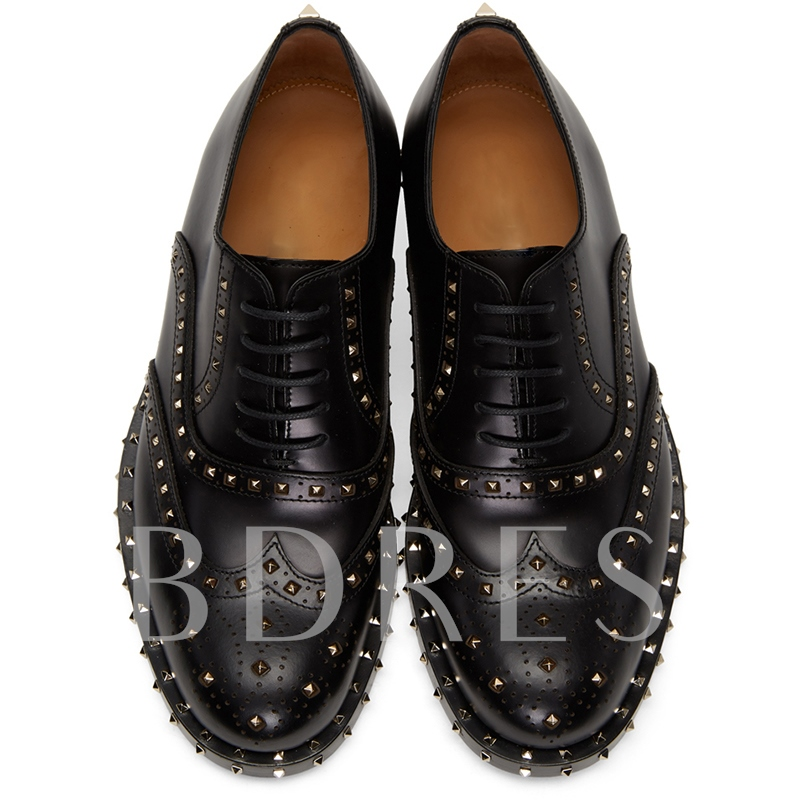 Lace-Up Rivet Thread Men's Casual Black Loafers