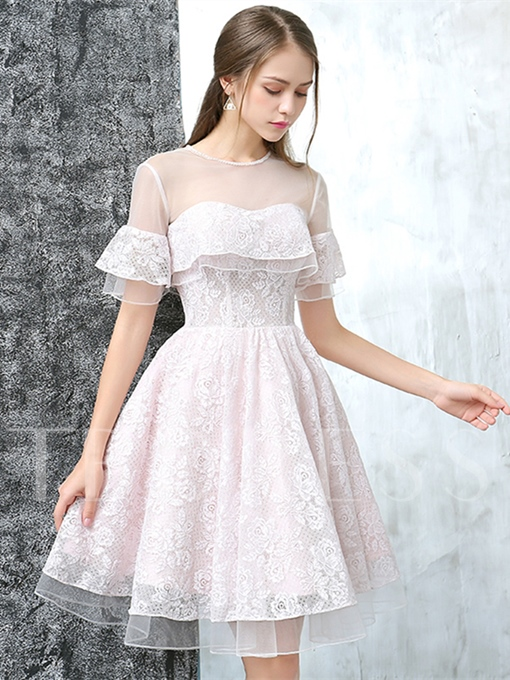 A-Line Jewel Button Lace Knee-Length Short Sleeves Homecoming Dress