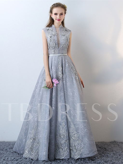 A-Line High Neck Lace Cap Sleeves Lace Flowers Floor-Length Evening Dress