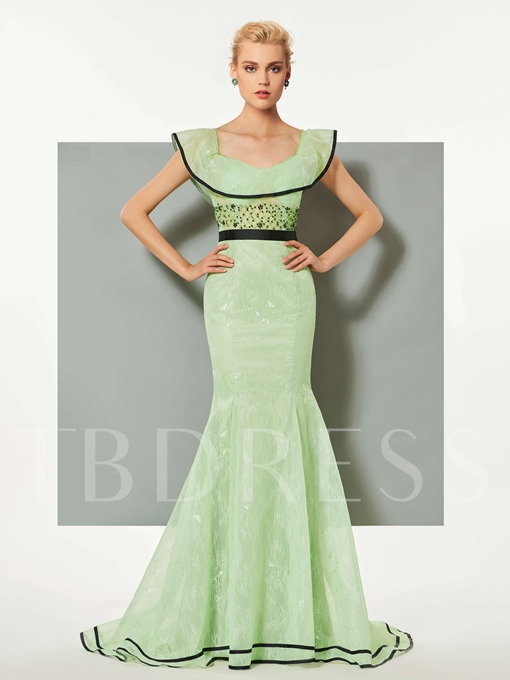 Mermaid Scoop Lace Ruffles Sashes Court Train Evening Dress