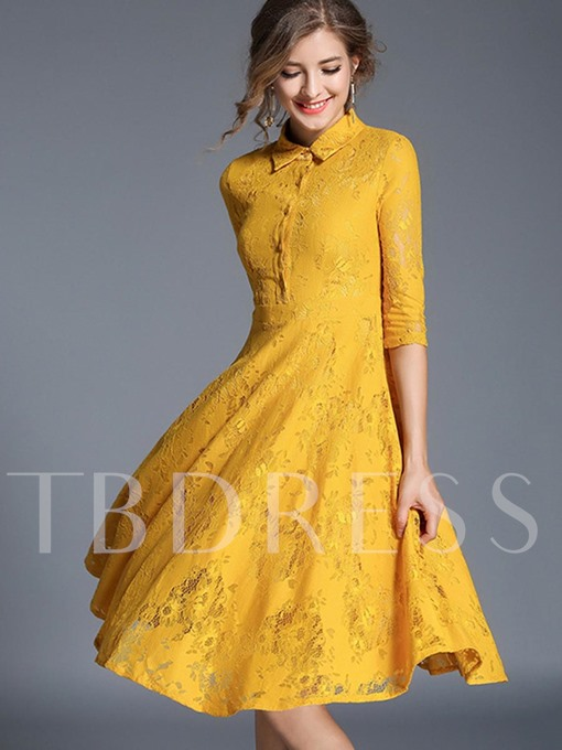 Half Sleeve Lapel Women's Lace Dress