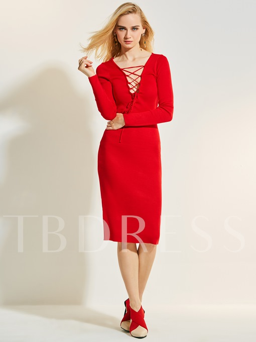 Christmas Deep V-Neck Plain Women's Bodycon Dress