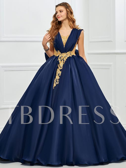V-Neck Ball Gown Appliques Bowknot Button Quinceanera Dress