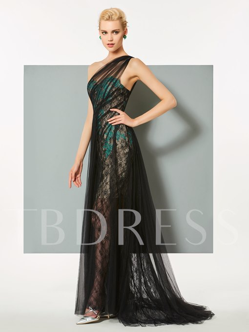 One-Shoulder A-Line Lace Appliques Sweep Train Evening Dress