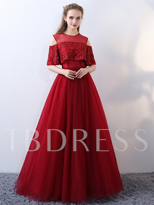 Jewel A-Line Beading Lace Half Sleeves Floor-Length Evening Dress