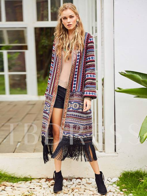 Tassel Geometric Ethnic Women's Cardigan