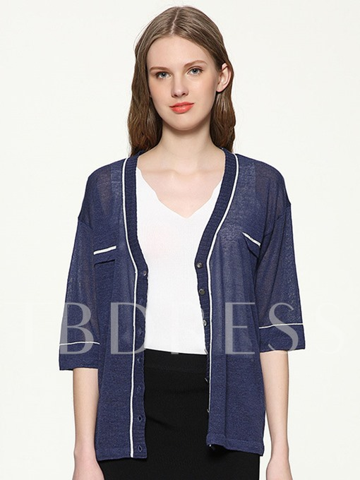 Thin Linen Loose Color Block Women's Cardigan