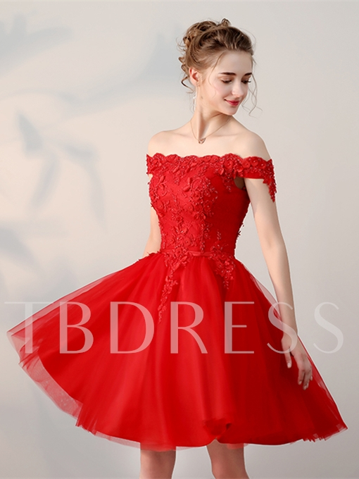 Off-the-Shoulder Appliques Pearls Sashes Homecoming Dress