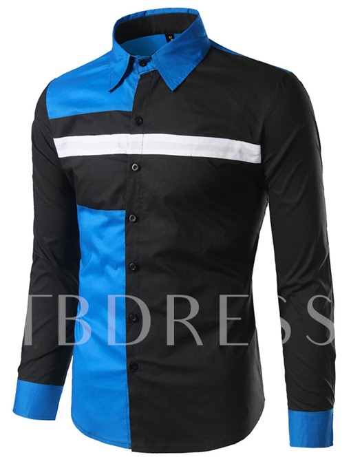 Lapel Patchwork Color Block Men's Long Sleeve Shirt
