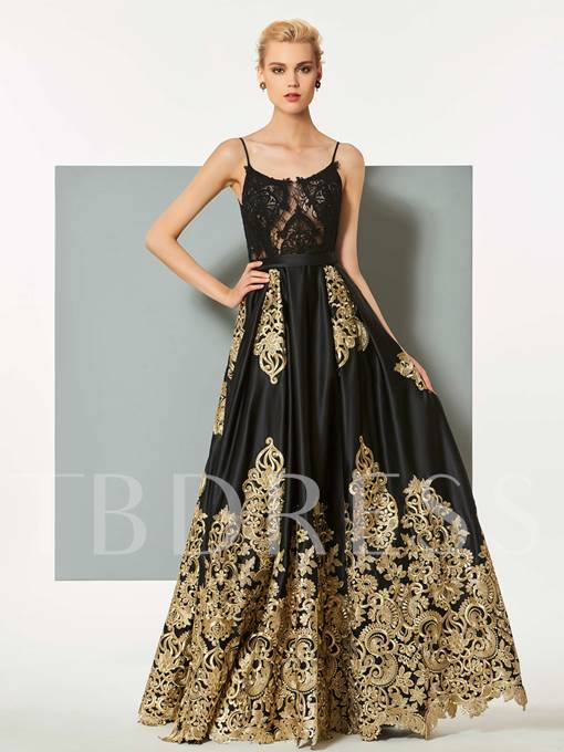 A-Line Spaghetti Straps Lace Long Evening Dress