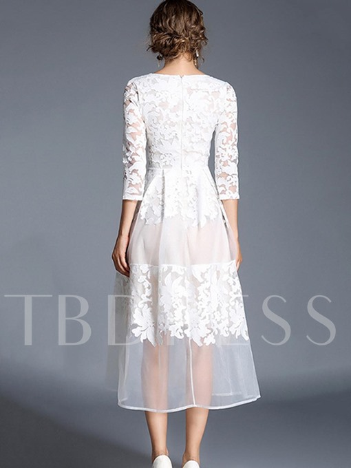 3/4 Sleeve White Patchwork Women's Lace Dress