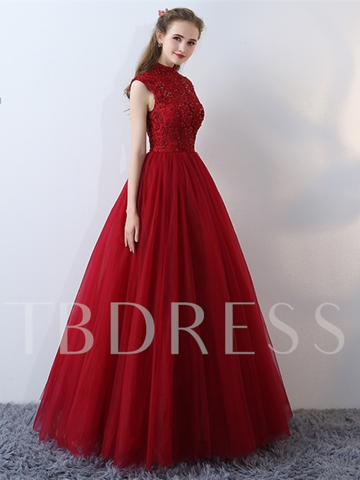 A-Line High Neck Beading Lace Cap Sleeves Floor-Length Evening Dress