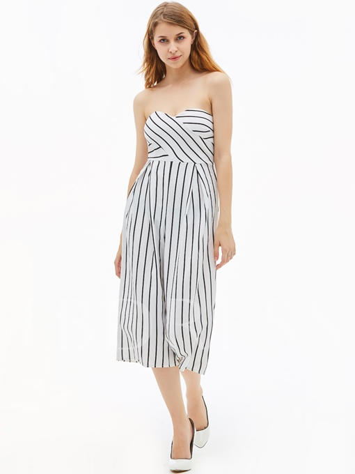 Slim Stripe Backless Wide Legs Women's Jumpsuit
