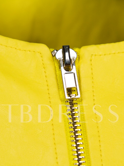 Yellow Zipper Hemline Women's Jacket