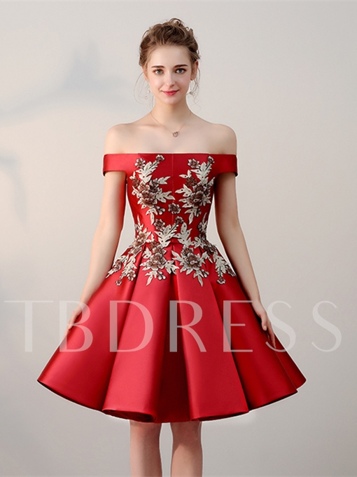 A-Line Off-the-Shoulder Embroidery Short Homecoming Dress