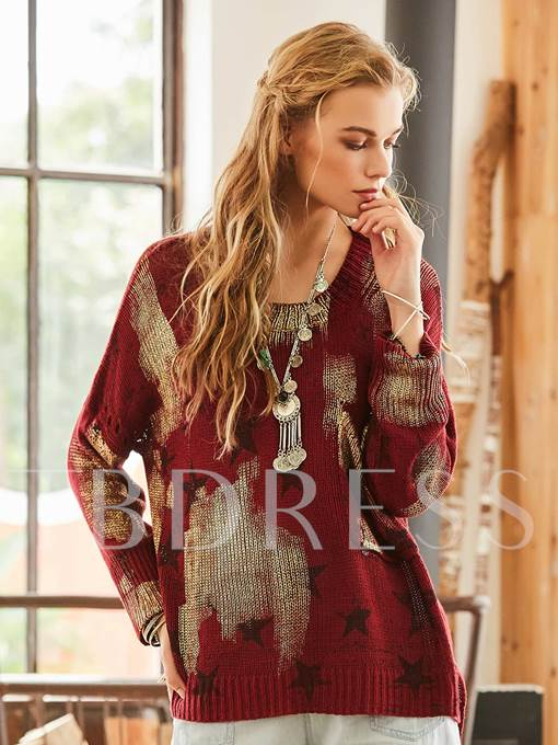 Star Print Patchwork Color Block Packet Women's Sweater