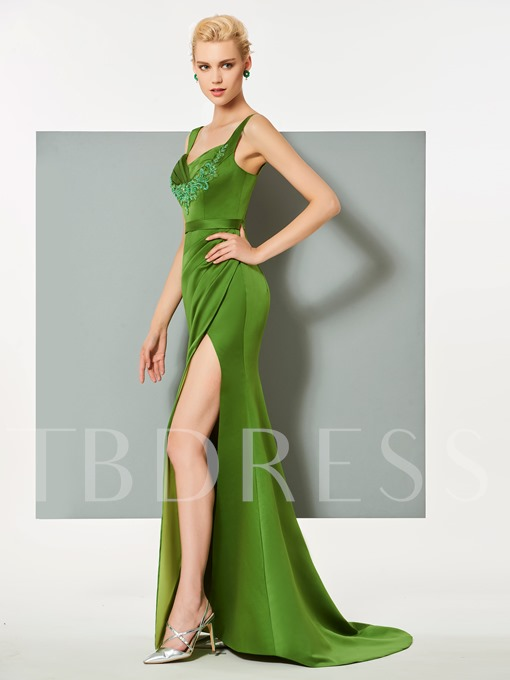 Spaghetti Straps Appliques Split-Front Sheath Evening Dress