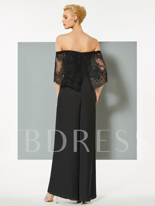 A-Line Off-the-Shoulder Short Sleeves Lace Pockets Evening Dress