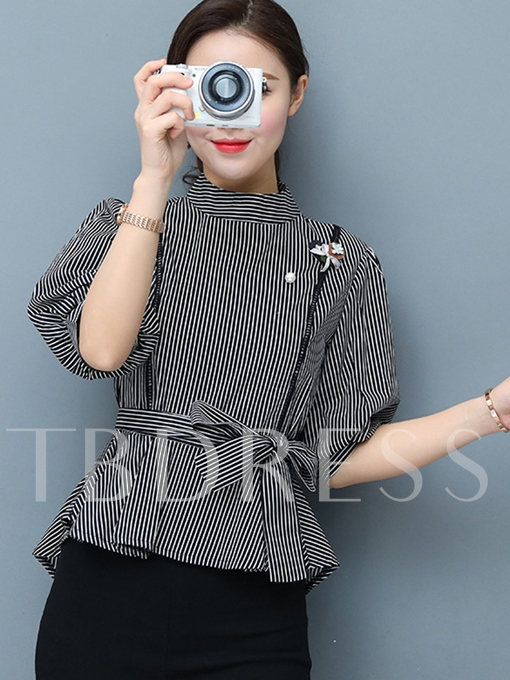 Lantern Sleeve Stripe Belt Slim Women's Blouse