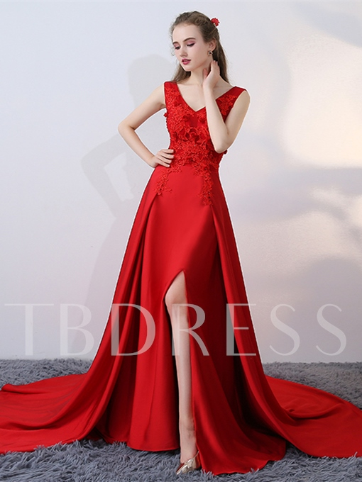 A-Line Appliques Split-Front Court Train Evening Dress