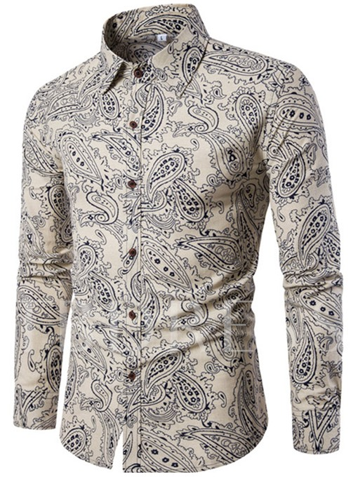 Lapel Linen Ethnic Print Slim Fit Luxury Men's Shirt