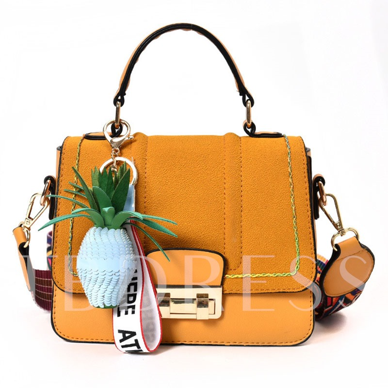 Trendy Pineapple Pendant Solid Color Handbag