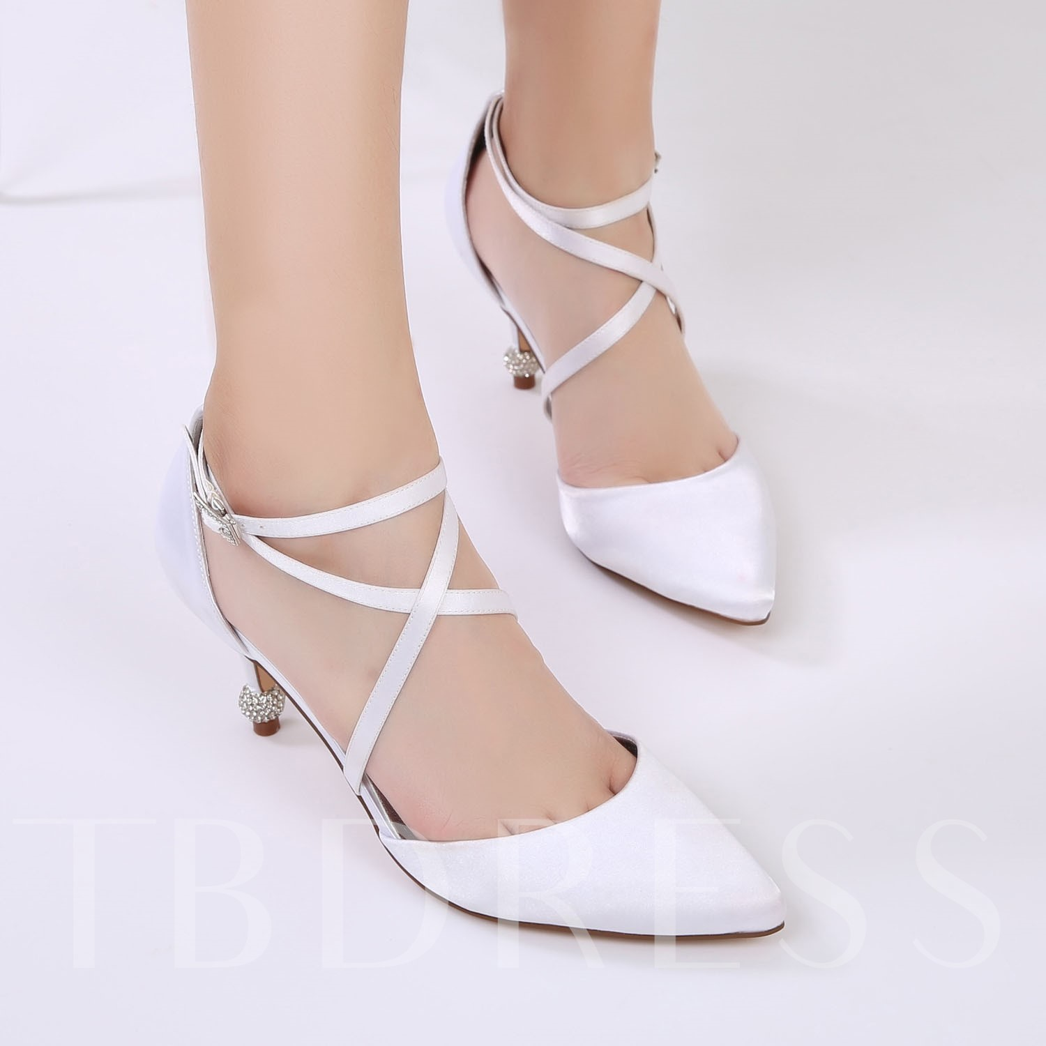 Silk Fabric Line-Style Buckle PU Bridal Shoes For Wedding