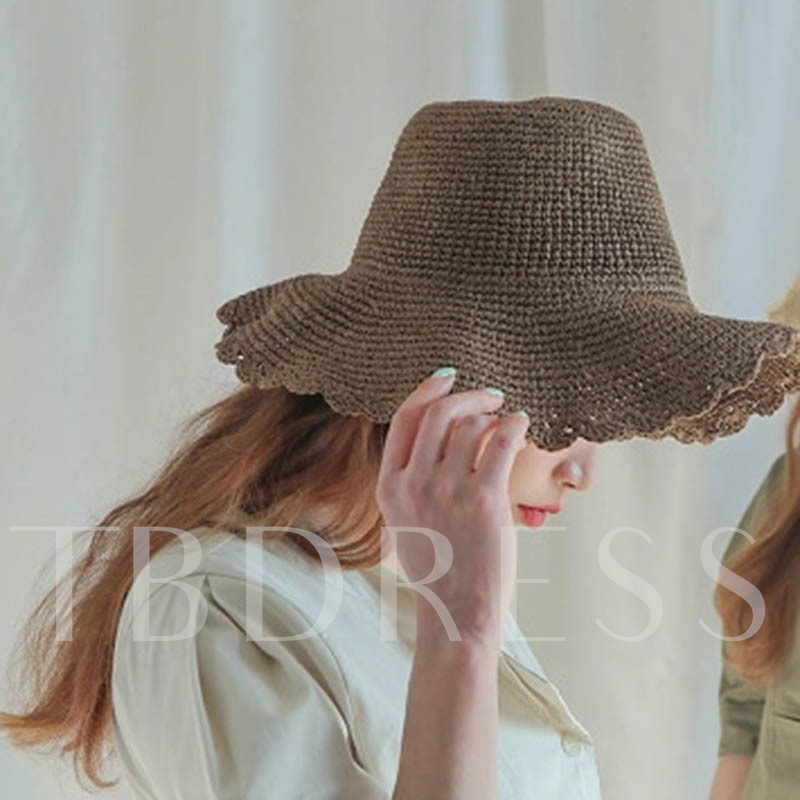 Wave Cut Hollow Out Straw Korean Hats