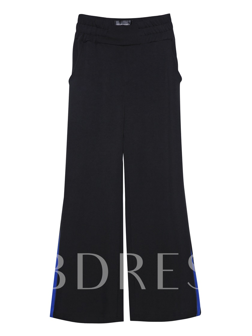 Color Block Wide Legs Full Length Women's Trousers