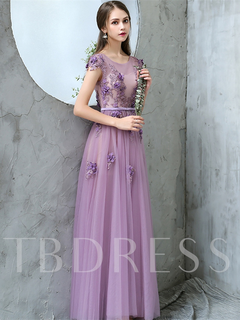 A-Line Appliques Sashes Flowers Prom Dress