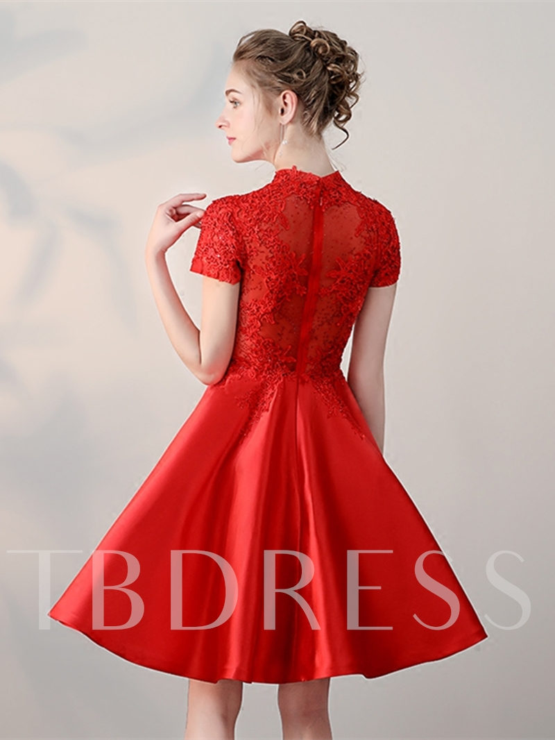 A-Line Beaded Lace High Neck Homecoming Dress