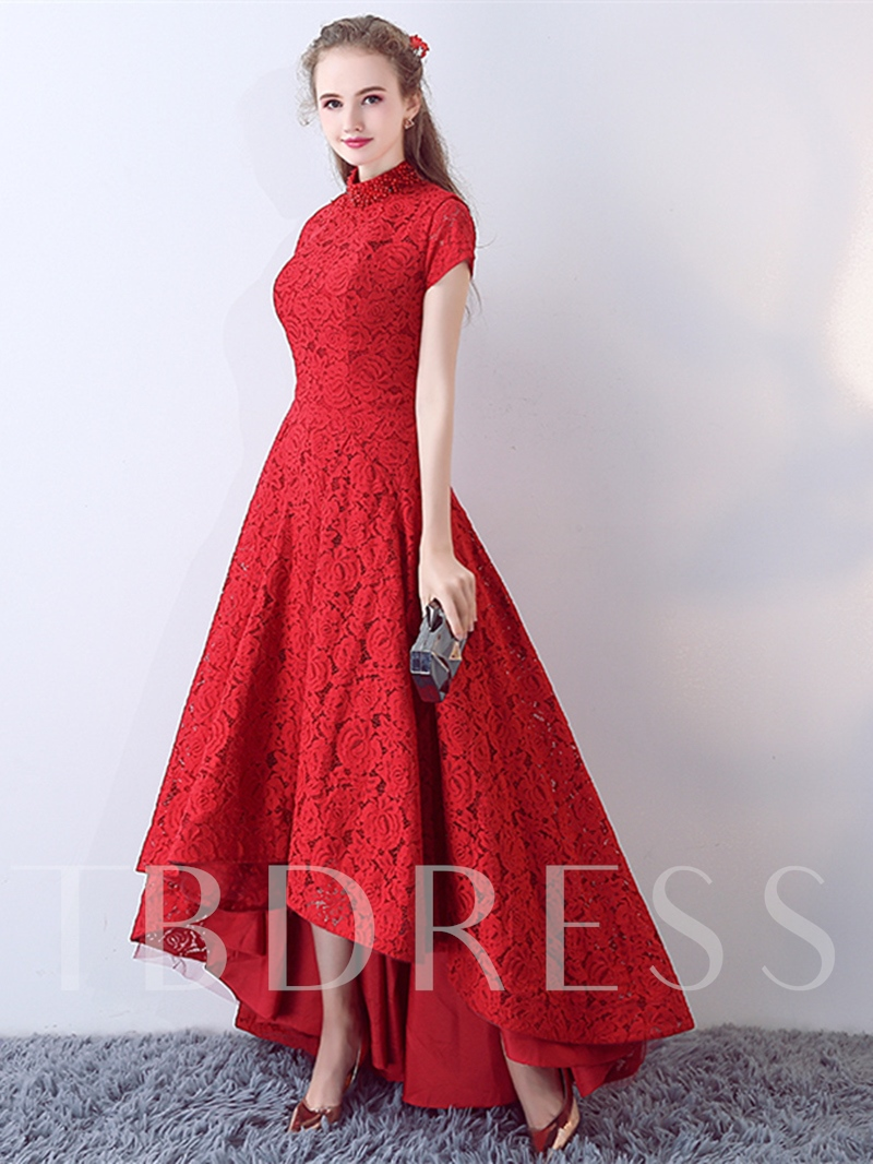 A-Line High Neck Lace Pearls Asymmetry Evening Dress