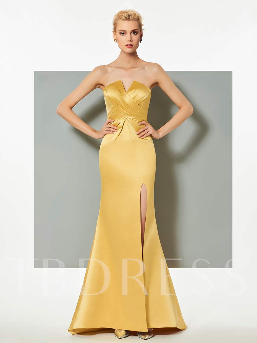 Strapless Mermaid Split-Front Pleats Evening Dress