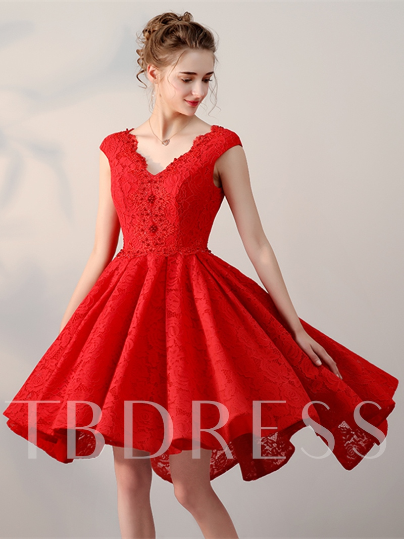 A-Line V-Neck Lace Pearl Short Homecoming Dress