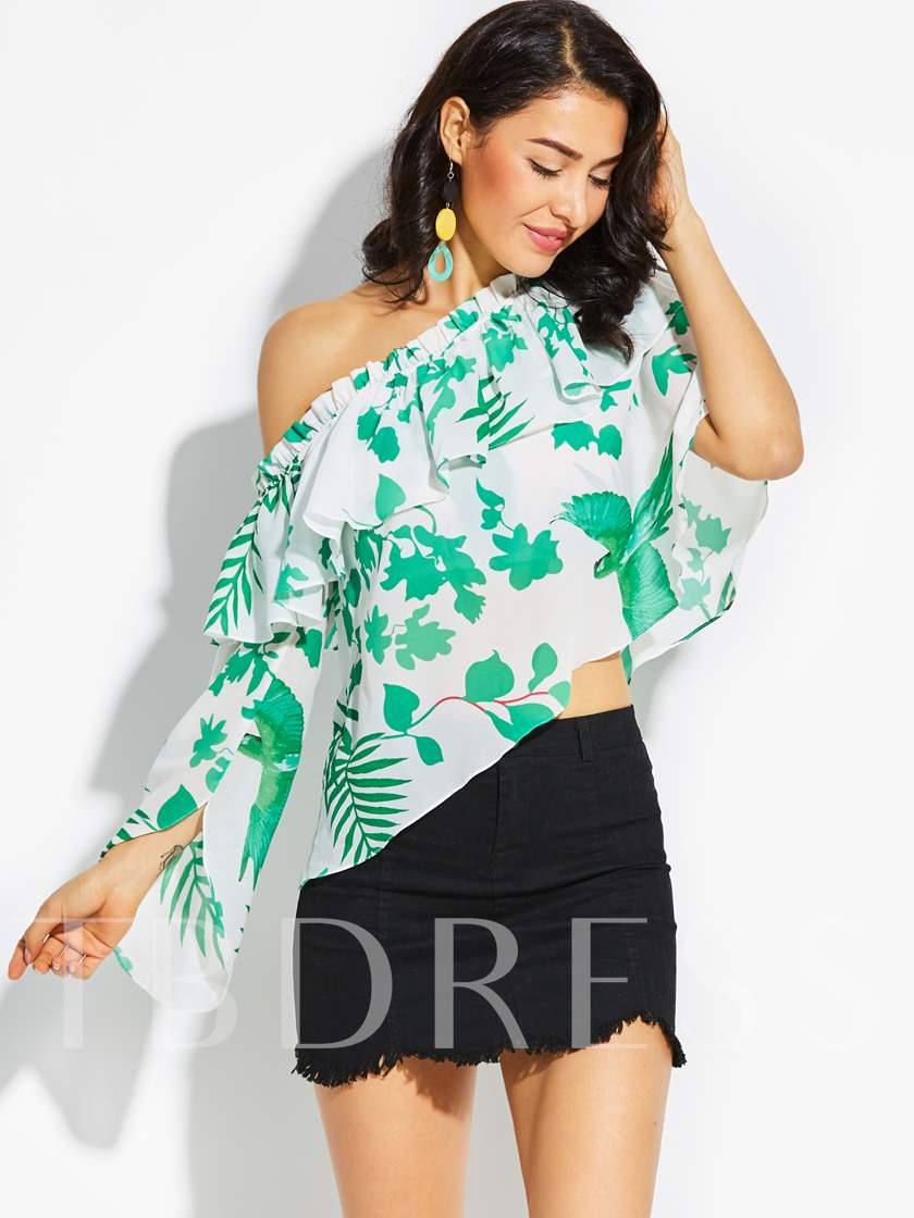 One Off Shoulder Falbala Floral Vacation Women's Top