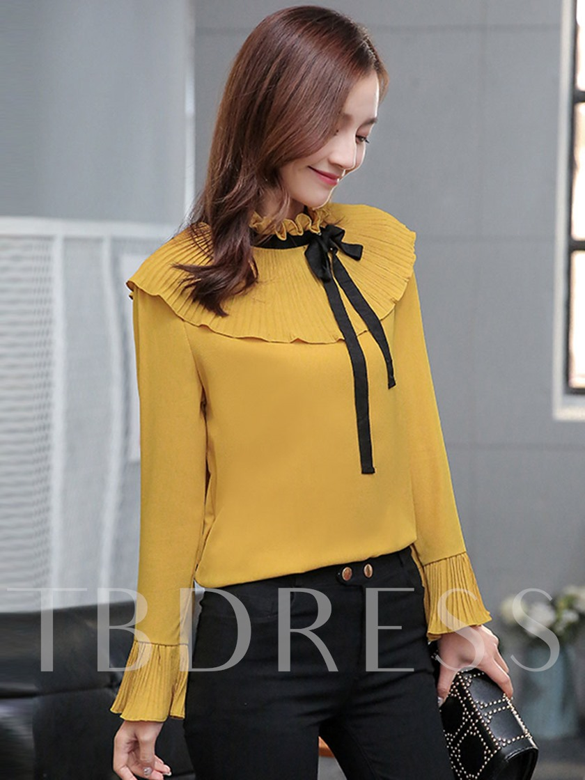 Vintage Flare Sleeve Chiffon Blouse for Work Women's Blouse