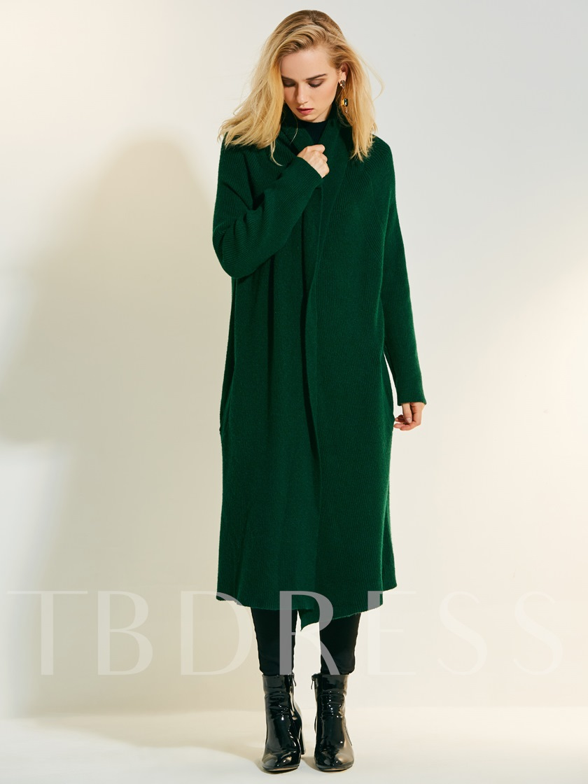 Loose Lapel Cashmere Long Women's Sweater Coat