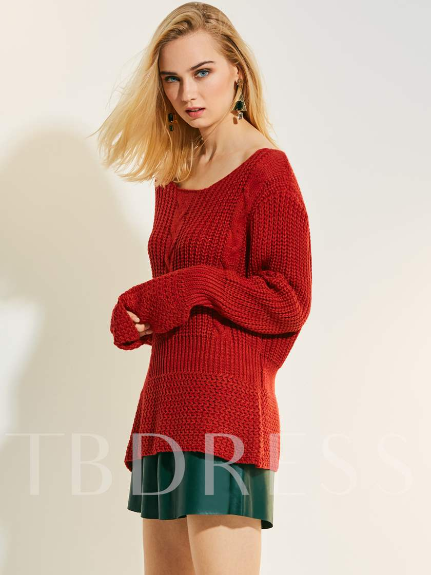 Loose Pullover Long Sleeve Women's Sweater