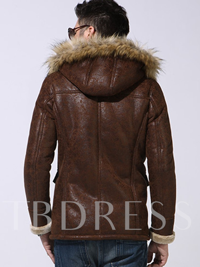 Midi Pattern Hooded Horn Button Warm Down PU Men's Coat