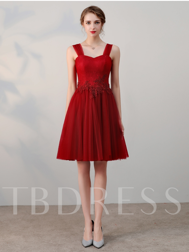 A-Line Appliques Beading Lace Straps Short Homecoming Dress