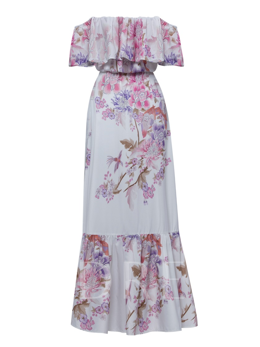 Vacation Strapless Floral Print Women S Maxi Dress Tbdress Com