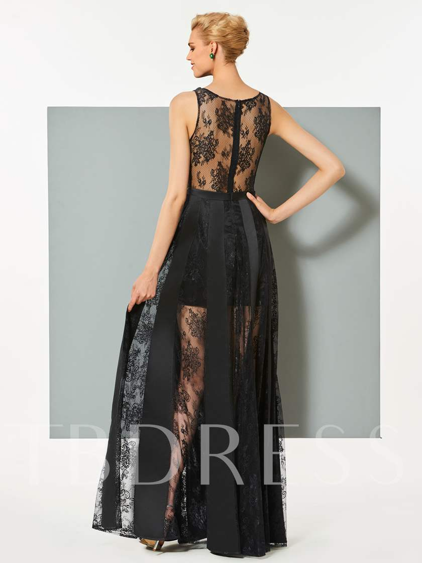 A-Line Scoop Lace Sleeveless Floor-Length Evening Dress